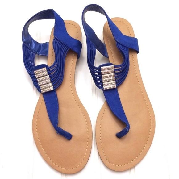46f02d611 Madden Girl Shoes - Madden Girl embellished blue Tifff t-strap sandals